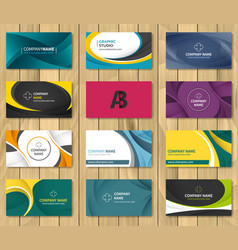 set of corporate business card bundle vector image vector image