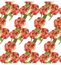 Spring red tulips pattern vector