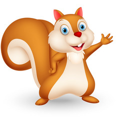 squirrel cartoon presenting vector image