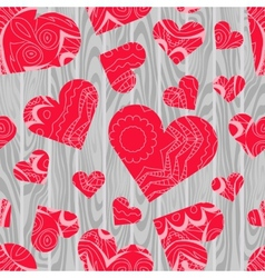 Textured hearts background vector image