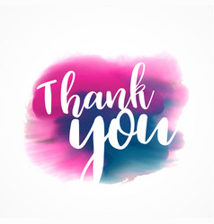 Thank you written on hand painted red and blue vector