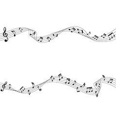 two row of musical notes and chords vector image vector image