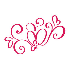 valentines day of flourish calligraphy vector image