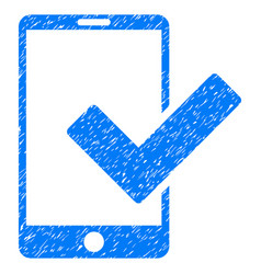 Valid smartphone grunge icon vector