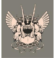 Vintage emblem with animal skull vector
