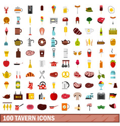 100 tavern icons set flat style vector