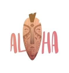 Aloha lettering mask statue carved polynesian vector
