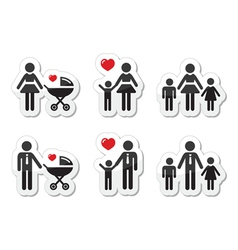 Single parent sign - family icons as labels vector