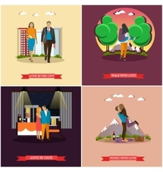 Set of couples in love concept posters vector