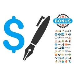 Pencil Price Icon With 2017 Year Bonus Symbols vector image