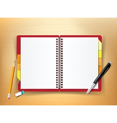 Top view of stationary notebook pen pencil eraser vector