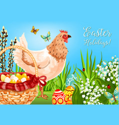 Easter chicken with eggs greeting card design vector