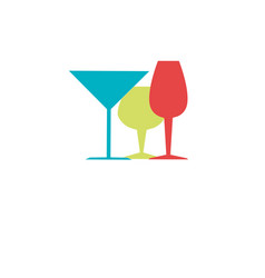 color silhouette with liquor cups vector image