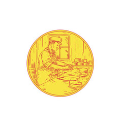 Swiss cheesemaker traditional cheese circle vector