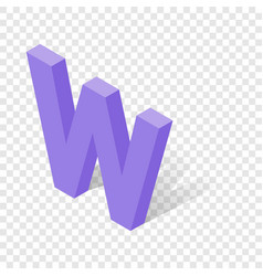 W letter in isometric 3d style with shadow vector