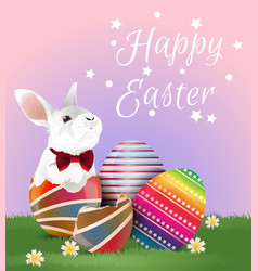 easter egg and bunny with greeting vector image