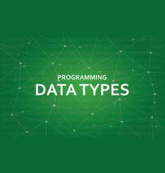 Programming data types white text vector
