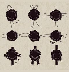 monochrome set of wax seals vector image