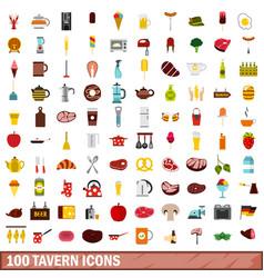 100 tavern icons set flat style vector