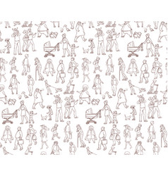 Sketch seamless pattern of vector