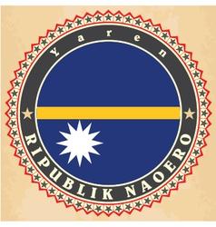 Vintage label cards of nauru flag vector