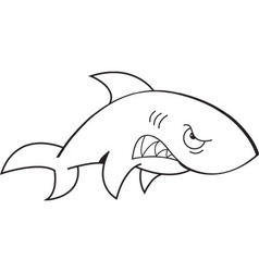 Cartoon angry shark vector