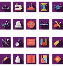 Flat color icons collection of sewing vector