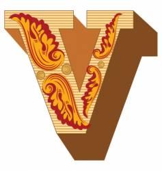3d vintage letter v vector image vector image