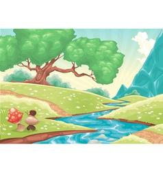 Cartoon landscape with stream vector