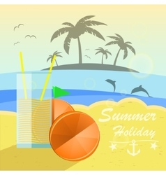 Beautiful seaside view with oranges and juice vector