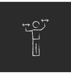 Man with dumbbell icon drawn in chalk vector