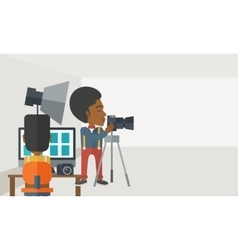 Photographers in studio vector