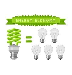Electric energy economy of light bulbs vector