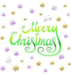 Merry christmas - green glittering lettering vector