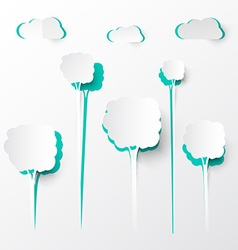 Paper cut trees and clouds background vector
