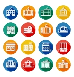 Government buildings flat icons vector