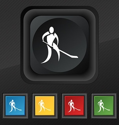 Winter sport hockey icon symbol set of five vector
