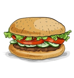 Burger color picture sticker vector