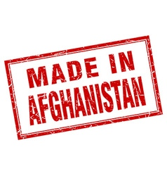 Afghanistan red square grunge made in stamp vector