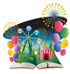 A book with an image of a carnival with balloons vector