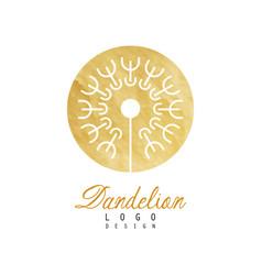 Abstract fluffy dandelion in golden textured vector
