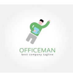 Abstract office man with coffe cup logo icon vector