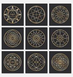 ancient masonic pentagrams steampunk gold sacred vector image