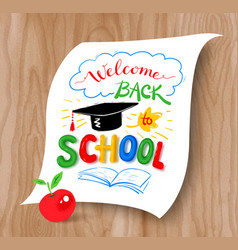 back to school lettering with graduation hat vector image vector image