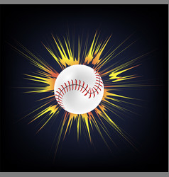 baseball ball with yellow explosion vector image