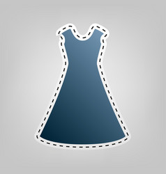 Beautiful long dress sign blue icon with vector
