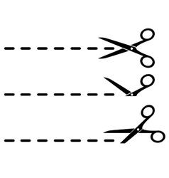 black scissors and cut lines vector image