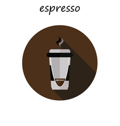 Coffee cup icon with long shadow flat design vector
