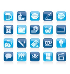 Different types of addictions icons vector