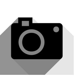 digital camera sign black icon with two vector image vector image